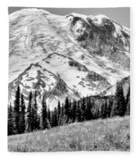 The Beautiful Mount Rainier At Sunrise Park - Washington State Fleece Blanket
