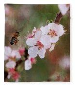 The Bee In The Cherry Tree Fleece Blanket