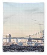 The Ben Franklin Bridge From Penn Treaty Park Fleece Blanket