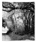 The Bend In The Road Bw Fleece Blanket