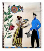 The Betrothal-folk Art Fleece Blanket