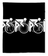 The Bicycle Race 2 Black Fleece Blanket by Brian Carson