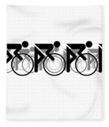 The Bicycle Race 2 White Fleece Blanket by Brian Carson