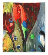 The Bird And The Tulips Fleece Blanket