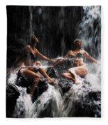 The Birth Of The Double Star. Anna At Eureka Waterfalls. Mauritius. Tnm Fleece Blanket
