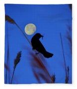 The Blackbird And The Moon Fleece Blanket