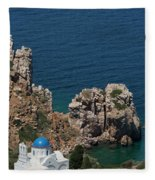 The Blue Domed Church At The Water S Fleece Blanket