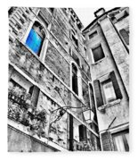 The Blue Window In Venice - Italy Fleece Blanket