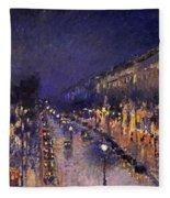 The Boulevard Montmartre At Night Fleece Blanket