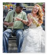 The Bride Plays The Trumpet- Destination Wedding New Orleans Fleece Blanket