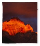 The Brilliance Of Light Mount Rundle Banff Fleece Blanket