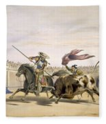 The Bull Following Up The Charge, 1865 Fleece Blanket