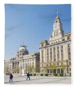 The Bund In Shanghai China Fleece Blanket
