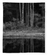 The Bush By The Lake Bw Fleece Blanket
