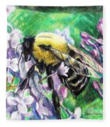 The Busy Bee And The Lilac Tree Fleece Blanket