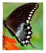 The Butterfly And The Zinnia Fleece Blanket
