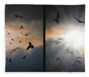 The Call - The Caw - Gently Cross Your Eyes And Focus On The Middle Image Fleece Blanket