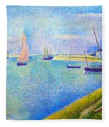 The Canal At  Gravelines Fleece Blanket