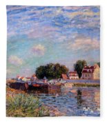 The Canal At Saint-mammes Fleece Blanket