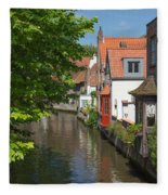 The Canal In The Downtown Of Bruges  Fleece Blanket