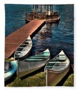 The Canoes At Big Moose Inn Fleece Blanket
