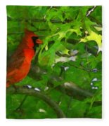 The Cardinal 2 Painterly Fleece Blanket