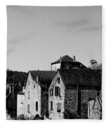 The Castle Above The Village Panorama In Black Nd White Fleece Blanket