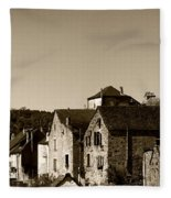 The Castle Above The Village Panorama In Sepia Fleece Blanket