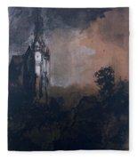 The Castle In The Moonlight  Fleece Blanket