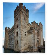 The Castle Of Sirmione. Lago Di Garda Fleece Blanket