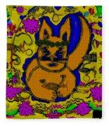 The Cat And His Fish Popart Fleece Blanket