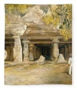 The Cave Of Elephanta, From India Fleece Blanket