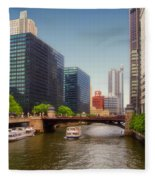 The Chicago River South Branch Fleece Blanket
