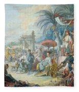 The Chinese Fair, C.1742 Oil On Canvas Fleece Blanket