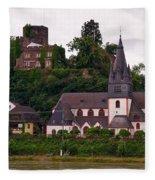 The Church And Heimburg In Niederheimsbach Am Rhein Fleece Blanket