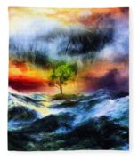 The Clearing Of The Flood Fleece Blanket
