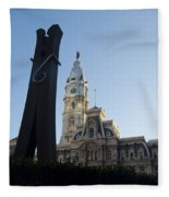 The Clothes Pin Statue And City Hall - Philadelphia Fleece Blanket