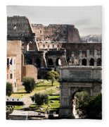 The Colosseum Through The Forum Fleece Blanket
