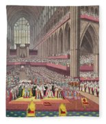 The Coronation Of King William Iv And Queen Adelaide, 1831 Colour Litho Fleece Blanket