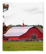The Country Red Barn Fleece Blanket
