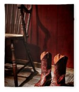 The Cowgirl Boots And The Old Chair Fleece Blanket