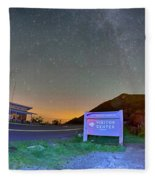 The Craggy Pinnacle Visitors Center At Night Fleece Blanket