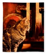 The Crane Yard Cat Fleece Blanket
