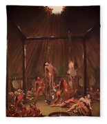 The Cutting Scene Mandan O-kee-pa Fleece Blanket