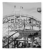 The Cyclone In Black And White Fleece Blanket