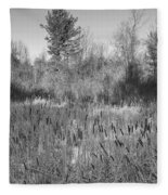 The Dance Of The Cattails Bw Fleece Blanket