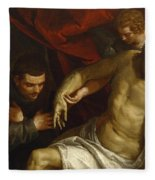 The Dead Christ Supported By An Angel And Adored By A Franciscan Fleece Blanket
