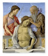 The Dead Christ Supported By Saints Fleece Blanket