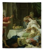 The Death Of Cleopatra, 1755 Oil On Canvas Fleece Blanket