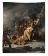 The Death Of General Montgomery In The Attack On Quebec, December 31, 1775, 1786 Oil On Canvas Fleece Blanket